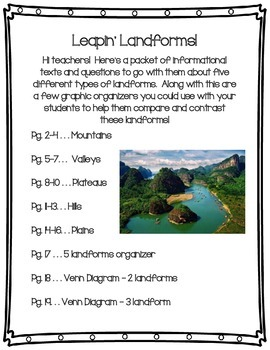 Leapin' Landforms Packet