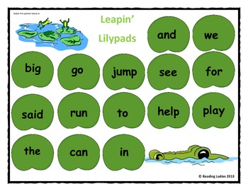 Sight Word Leapin' Lily Pads Game (Dolch Words/ Pre-primer version)