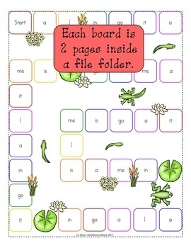 Leaping Learners - Frog Themed Dolch Pre-Primer Sight Word File Folder Games Set