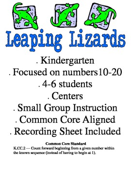 Leaping Lizards - Kindergarten Common Core Math Game