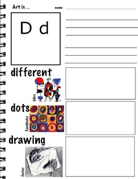 Art ABC's with Visual Art Examples (K-3, ESL) 26 pages  Writing Art