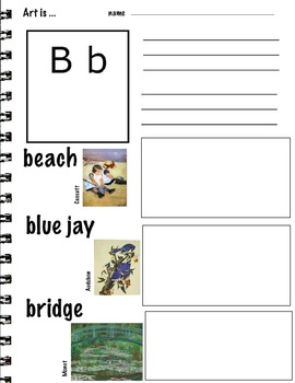 Art ABC's with Visual Art Examples (K-3, ESL) 26 pages, Art Lesson,  Writing