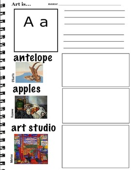 Art ABC's with Visual Art Examples (K-3, ESL) 26 pages  Wr