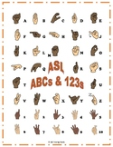 Learn ASL Alphabet & Numbers with Colorful Notecards and Poster