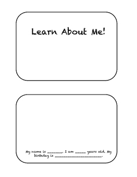 Learn About Me Booklet