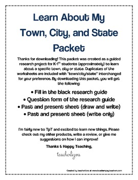 Learn About My  Town, City, and State Packet for Geography and History