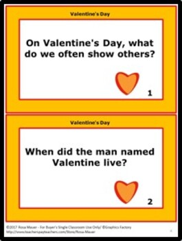 Learn About Valentine's Day  Task Cards and Worksheet Rookie Reads