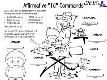 """Learn """"Affirmative Tú Commands"""" in Spanish! (Simple worksheets for K-3)"""