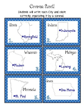 Learn COMMAS using this city, state scoot!
