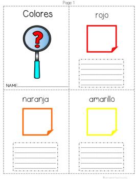 Color Mini-books in Spanish/English, English and Spanish