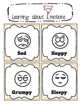 Learn Emotions in English - 16 Flash Cards - Special Education