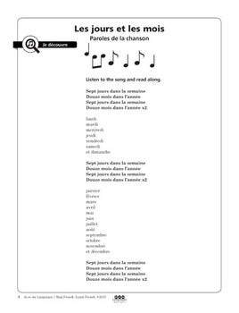 French Days and Months Song and Writing Activities