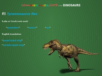 Learn Greek/Latin Roots Using Dinosaurs: engaging, interactive slides & handouts