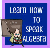 Learn How to Speak Algebra--Vocabulary Worksheet