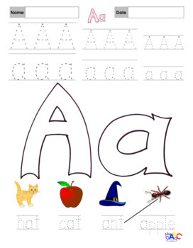 Letter Aa Printing Worksheets and Puzzles