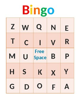Learn Letters Bingo Game- Printable