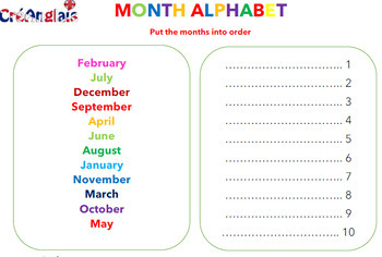 Learn Months with CreAnglais - includes creative activity