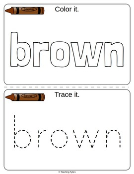 Colors Activities Worksheets Booklet Brown