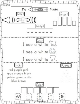 Colors Activities Worksheets Booklet White