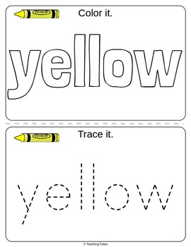 Colors Activities Worksheets Booklet Yellow