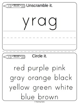 Colors Activities Worksheets Booklet Gray