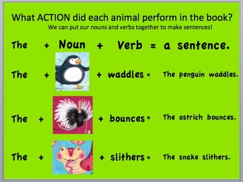 "Learn Nouns and Verbs by ""Doing the Animal Bop"" - Slideshow, song, lesson"