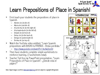 Learn Prepositions of Place in Spanish!