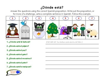 Learn Prepositions of Place in Spanish! (Worksheets & Visual Aid!)