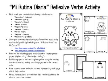 learn reflexive verbs in spanish my daily routine activity tpt. Black Bedroom Furniture Sets. Home Design Ideas