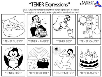"Learn ""TENER Expressions"" in Spanish! (Fun Worksheets!)"