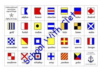 BUNDLE: Alphabet With The International Maritime Signal Flags In Cursive Writing