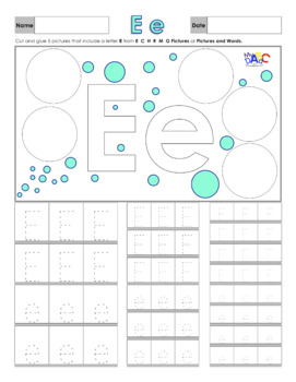 Letter Ee Printing and Picture Find Worksheets