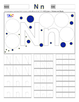 Letter Nn Printing and Picture Find Worksheets