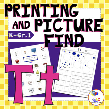 Letter Tt Printing and Picture Find Worksheets