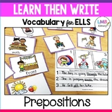 ESL Newcomer Activities, Prepositions Flash Cards and Writing