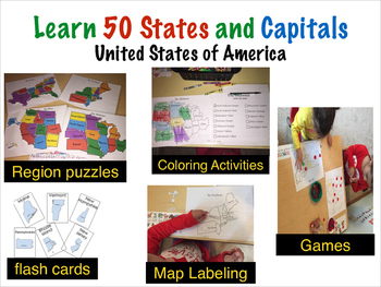 Teach U.S 50 States and Capitals Pack