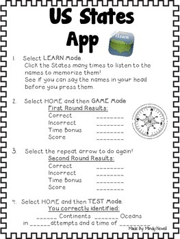 Learn US States App and FREE Accountability Activity Sheets