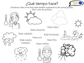 "Learn Weather & Seasons in Spanish! Board Game, Worksheet & ""Pictionades"""
