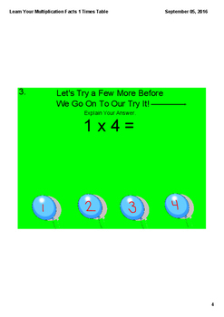 Learn Your Multiplication Facts 1 Times Table