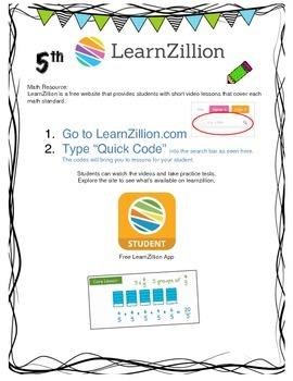 Learn Zillion Quick Codes 5th Grade Math NBT & NF