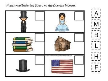 Learn about Abraham Lincoln. American history Beginning Sounds preschool.