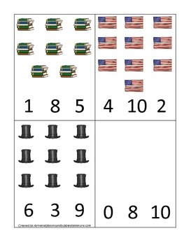 Learn about Abraham Lincoln. American history Count and Clip Cards preschool.