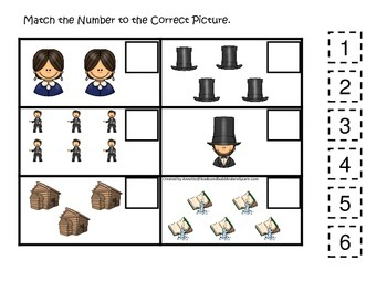 Learn about Abraham Lincoln. American history Match the Number preschool.