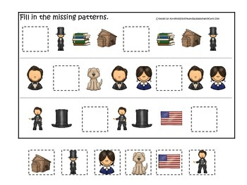 Learn about Abraham Lincoln. American history Missing Pattern preschool.