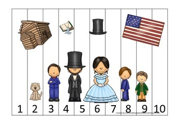 Learn about Abraham Lincoln. American history Numbers Puzzle preschool.