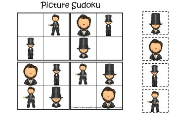 Learn about Abraham Lincoln. American history Picture Sudoku preschool game.