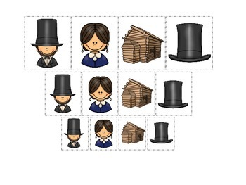 Learn about Abraham Lincoln. American history Size Sorting preschool.