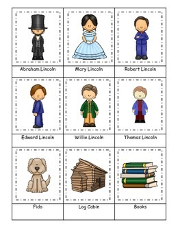 Learn about Abraham Lincoln. American history Three Part Matching preschool.