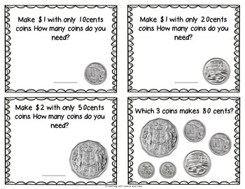Learn about Australian coins task cards set of 20