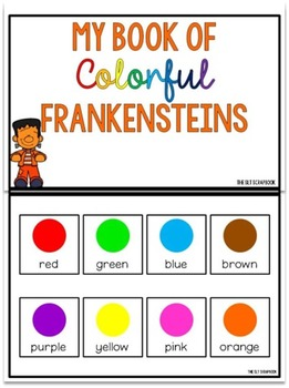 Learn about Colors- Interactive book and Worksheets- Colorful Frankensteins.
